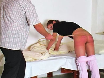 Waking katty1. Katty has been extra naughty this week and is taught a stern lesson is this lustful caning video.  The headmaster wakes her up, bends her over the bend and proceeds to give her a appealing caning.  After a few spankings with his cane, the headmaster lowers Kattys