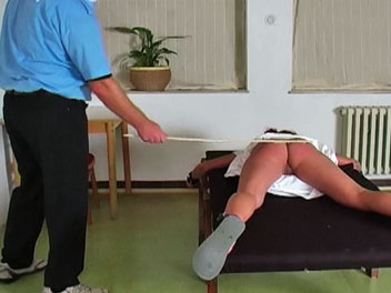Caning katty1. Katty has been a naughty girl and must be punish in this horny caning film. The headmaster and his assistant bind Katty spread eagle to a table lift her dress and give her backside a thorough caning.  Katty moans in pain as the headmasters cane begins to l