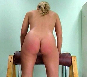 Cream colored goddess. Laura is the latest victim in this spanking video.  She has by far one of the larger and softer asses as of late.  She was made to bend over our wooden contraption, allowing us full view of the punishment that was to ensue.  Her blond hair shaking with ev