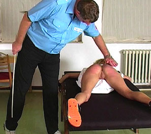 In this spanking video, we get to see Eleanor take a stiff caning for her misbehavior.  She had snapped at a teacher, and was immediately send to the headmasters office.  This is when see gets tied down to our table, exposing her fluffy bottom to his hard