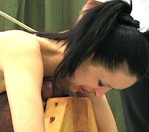 Dominique destruction1. For some reason girls never seem to learn to not obey there masters.  Dominique did just that, and was then told to ride a wooden device, exposing her bulbous, soft ass. His cane.  Dominique toke a stiff canning, almost breaking the soft skin of her botto